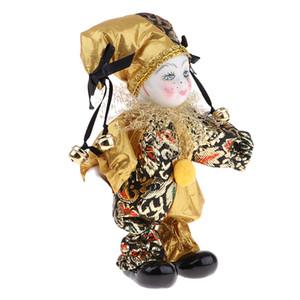 Porcellana bambole da collezione 16 centimetri Altezza Arlecchino Bambola in costume d'oro, regali creativi Valentin per Lui o fidanzata