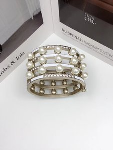 2019 European and American women female ladies stamped pearls hollow out bracelets Unique design copper bangles wristband