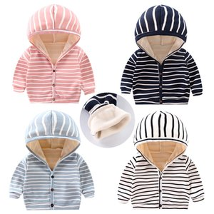 Baby Spring Autumn Striped Hoodies Sweatshirts Cardigan Button Velvet Lining Clothes Newborn Infant kids Girls Boys Long Sleeves Coat Tops