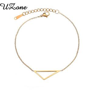 UZone na moda oco triângulo pulseira de aço inoxidável ajustável Bangle para mulheres dos homens