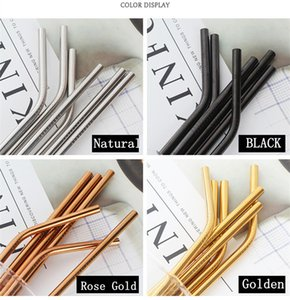 304 Stainless Steel Straw Reusable Drinking Straws Colorful Metal Straw Cleaning Brush Home Party Wedding Bar Drinking Tools Barware 500PCS