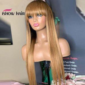 İshow Brezilyalı 4/27 Düz İnsan Saç Peruk Bangs 27 # 30 # 99j Turuncu Zencefil 350 # Perulu Yok Dantel Peruk Hint Saç Malezyalı ile