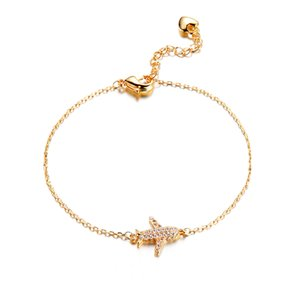 MIGGA New Trendy Cubic Zircon Crystal Aircraft Air Plane Charm Bracelet Chain for Women Girls Gold Color