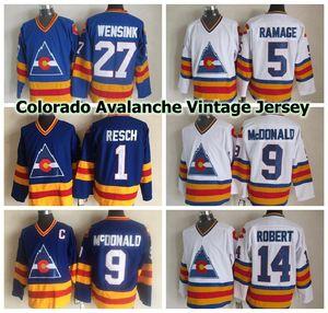 Colorado Avalanche Vintage Jerseys 5 Rob Ramage 9 Landanny McDonald 14 Rene Rome Rome 27 John Wensink 1 Glenn Resch CCM Jerseys de hockey