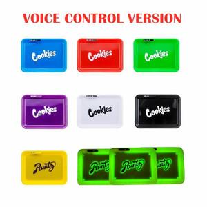 Versão Voice Control LED Brilho Bandeja recarregável cookies Sertão Runtz seco Herb tabaco de enrolar de armazenamento Titular DHL grátis