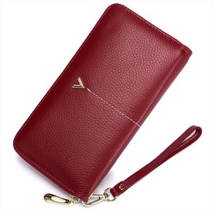 2018 Brand Long Women Wallet with Interior Moblie Female Large Purse Woman Genuine Leather Card Holder Ladies Coin Red