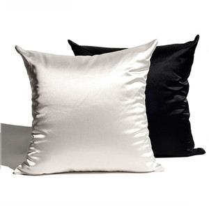 Soft Silky Satin Cushion Cover Solid Colors Home Decor Living Room Sofa Seat Throw Pillow Case Decorative Polyester Pillowcases VT1586