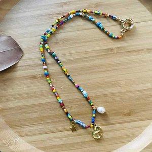 Kadınların adı kolye arkadaşı doğum günü hediyesi için benzersiz mektup kolye kolye renkli pirinç boncuk mix el yapımı ve maç gerdanlık