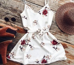 Summer Women Clothing Travel Festa Holiday Ladies Sleeveless Dresses Off Shoulder Vestido Boho Beach Vacation Floral Mini44