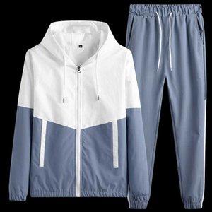 Erkekler Tracksuits Spor Erkek Kış Giyim Patchwork Büyük Boy Erkekler Koşucular Suit Setleri için KKSKY İki adet Kapşonlu Hoodie Setleri