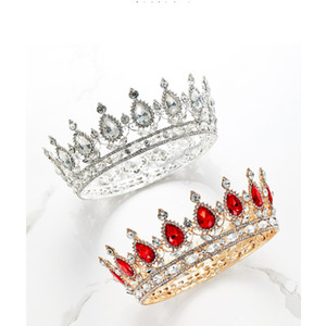 New High Quality New Bling Luxury Crystals Wedding Crown Silver Gold Red Rhinestone Princess Queen King Bridal Tiara Crown Hair Accessories