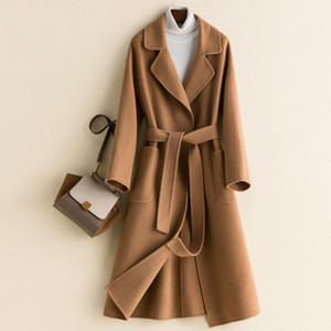 Spring Autumn Woolen Coat Women Mid-length Loose Wool Coat Ladies Belt Double-Sided High-end Cashmere Female Pocket A755