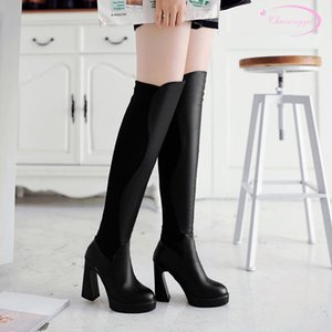 Chainingyee party style round head nubuck over knee high boots slip-on waterproof black high heel riding boots women's shoes