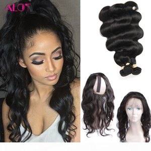 8A Grade 360 Lace Frontal With 3 Bundles Brazilian Virgin Hair Body Wave Weaves with Full Frontal Closure Pre Plucked 4 pcs Lot