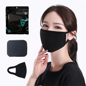 Masque coton noir Masques classique visage Mode lavable réutilisable antipoussière Masque Tissu pour Homme Femme Produits de protection