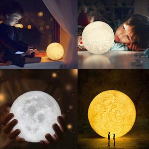 3D печататься LED свет луны меняется настроение, довольно украшение дома в форме дети лампы, ребенок Night Light, новогодние подарки, 11см