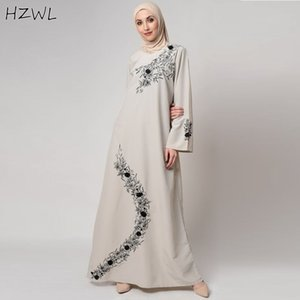 Elegant Embroidered Arabic Robe Jewel Neck Loose Long Sleeves A Line Evening Gowns Chiffon Floor Length Prom Dresses Vestidos