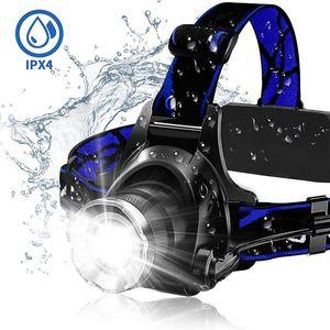 Bright LED lampe frontale super projecteurs 18650 rechargeable Lampe frontale étanche Lampe de travail, Casque de chantier léger pour l'extérieur Pêche