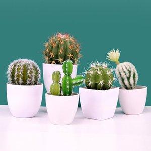 Flores decorativas guirnaldas simulación cactus suculento planta floración maceta fake flor oficina decoraciones sala de estar decoración