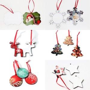 Süsleme Asma Boş Coaster Yuvarlak kar tanesi Noel ağacı Geyik Tasarım MDF Blank yazdırma Noel Sıcak Transferi