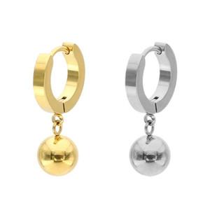 Pendientes de la bola simple anillo alergia colgante cuelga de acero inoxidable anti joyería de titanio Brincos punk polaca manera de las mujeres de los hombres Cha