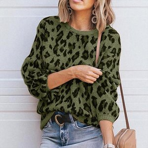 Womens Leopard Print Sweater Fashion Solid Casual Pullovers O Neck Knitted Robe Sweater New 2019 Knitwear Top