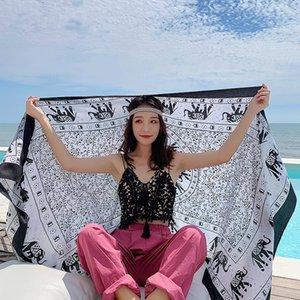 jndLT protection solaire d'été extra-large coton écharpe châle écharpe serviette de plage d'éléphant en Thaïlande et en bord de mer imprimé linge vacances plage towe