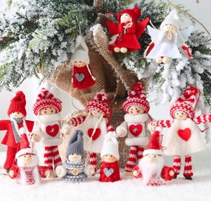 2PCS Happy New Year Christmas Ornaments DIY Xmas Gift Santa Claus Snowman Tree Pendant Doll Hang Decorations for Home Noel Natal