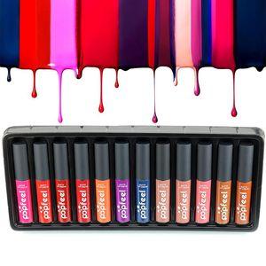 12 Pcs Set Popfeel Lipgloss Long Lasting Lip Gloss Matte Waterproof Makeup Lipstick Lip Tint Set MaLiquid Stick 12 Colors