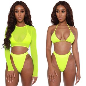 2020 New Swimsuit Women Sexy Bikini Bra Set with Mesh Top High Cut Underwear Amazon Hot Sale Three-piece Swimsuit Female Swimsuit Beachware