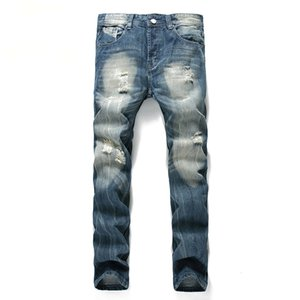 Casual Fashion Patchwork Hollow Begging Cropped Jeans Pants Denim Ripped Hip Hop Men Sexy Ripped Old Brand Dropship Large Size