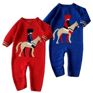 knitted baby boy clothes new born clothing newborn baby romper red horse knit clothing girls jumpsuit cotton rompers spring