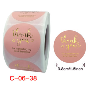 500 Pcs Roll (set) 1.5 Inch Pink Gold Foil SStickers With Thank You For Packages Stickers Seal Labels DIY Christmas Gift Decoration Stickers