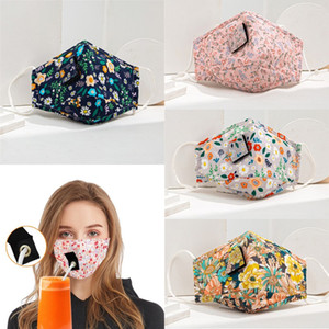 Adult Dustproof Mask Party Drink Masks Anti PM2.5 Pollution Fog Cotton Mouth Straw Mask Washable Dustproof Face Masks DHC77