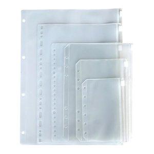 2020 A5 / A6 / A7 Sac étanche transparent transparent document Tirette Sac côté 6 trous en vrac feuilles Sac Receipt Sacs de stockage Livraison gratuite