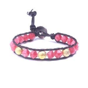Fashion women's Boho Bracelet Natural Stone Crystal Silver Plated Regalite leather wrap Bracelet Dropship Handmade jewelry