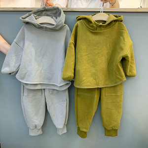 5378 Autumn 2020 Korean Children's Clothing Set Boys And Girls Fashion Simple Hooded Top + Pant Cotton Baby Kids 2 Piece Suit X0923