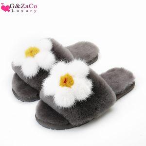 Zapatos de lujo GZaco lanas del invierno de las ovejas de pelo natural piel real paño grueso y suave de fondo plano de flor del deslizador mullido Mujeres
