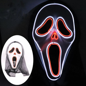 Halloween Horror Череп LED Световой Кричащей маска партия испуг Творческого этап EL Холодный свет Маска Хэллоуина Фестиваль Косплей