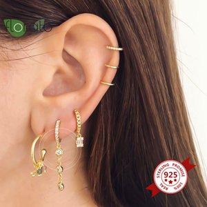 Hoop & Huggie Crystal Pendant Hanging 925 Sterling Silver Earrings Gold Color Tiny Hoops Minimalist Jewelry