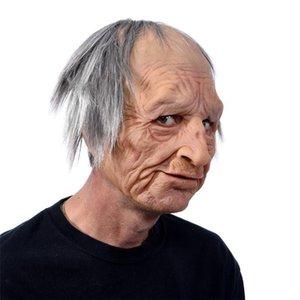 Halloween Old Man Mask New Carnival Espeluznante Cara Face Cara Traje Realista Halloween Mascarada Máscara de Hombre de Halloween WiboJ