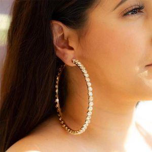 2020 الذهب والمجوهرات GLAMing أزياء كبير جولة أقراط الزفاف كريستال كبير جدا حجر الراين أقراط هوب للاكسسوارات حريمي