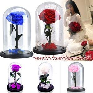 Купол Eternal Black Rose Стеклянный корпус с искусственный цветок Подарок на Новый год Валентина Рождество Gif Хорошее украшение дома 09em