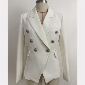 Women Blazer Black White Double Breasted Jacket Female Lapel Neck Slim Suit Fashion Designer Classic