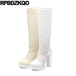 Fetish Big Size Women Patent Leather Cheap Mesh Lace White Wedding Boots Extreme Bridal High Heel Sandals Shoes Chunky Knee 10
