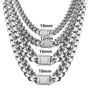 6-18mm широкая из нержавеющей стали кубинского Майами цепь ожерелья CZ циркон Box Замок Больших тяжелая цепи для мужчин Hip Hop Rock ювелирных изделий