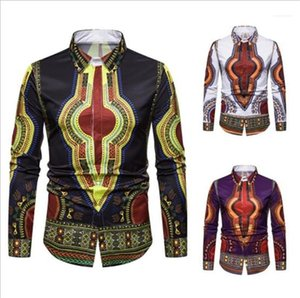 Printed Long Sleeve Tun-down Collar Shirts Autumn Mens Clothing Africa Style Mens Designer Shirts Fashion Ethic 3D Digital