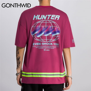 GONTHWID Harajuku 3M Reflective Strip Creative Print Short Sleeve T Shirts Streetwear Men Hip Hop Casual Tops Tees Male Tshirts 0924