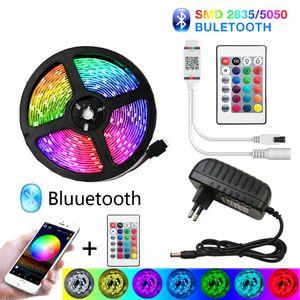LED Bluetooth Lights bande 20M RVB 5050 SMD flexible Ruban étanche RGB LED 5M 10M bande diode DC 12V Contrôle Bluetooth
