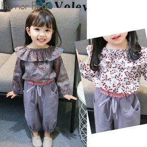Humor Bear Spring Autumn 2019 Baby Girl Clothes Suit Korean Floral Long-sleeved +Pants 2Pcs Infant Cute Children's Clothing set X0923
